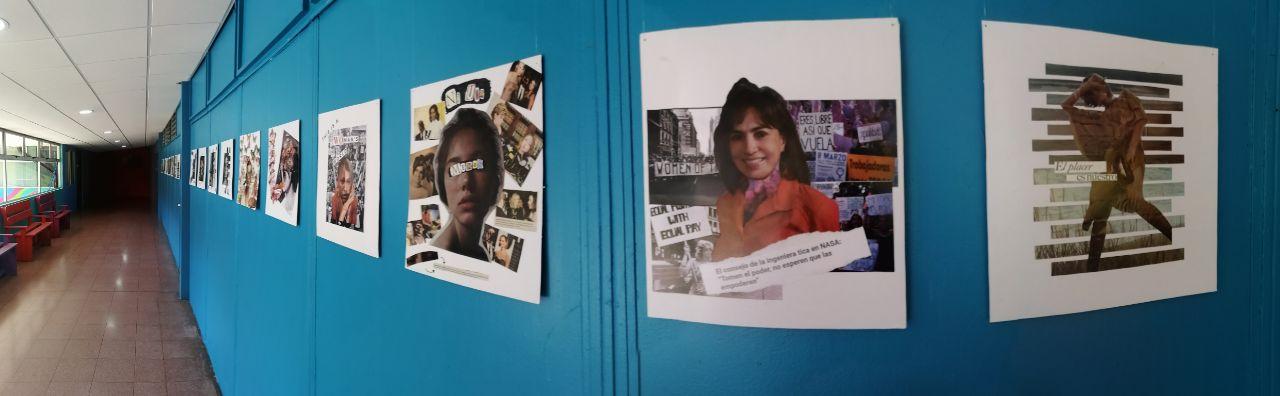 Una muestra de fotos, colocadas en una pared.