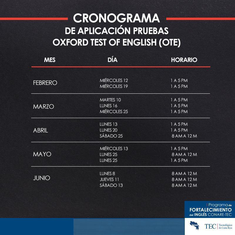 Calendario OTE TEC Cartago.