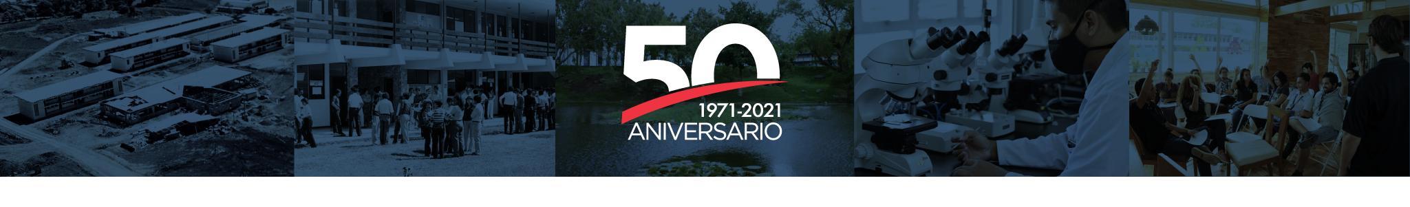 50 aniversario TEC, año 1971 y año 2021. Logo con imágenes de fondo ilustrativas