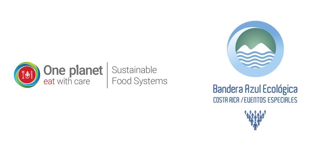 logos bandera azul ecológica y one planet