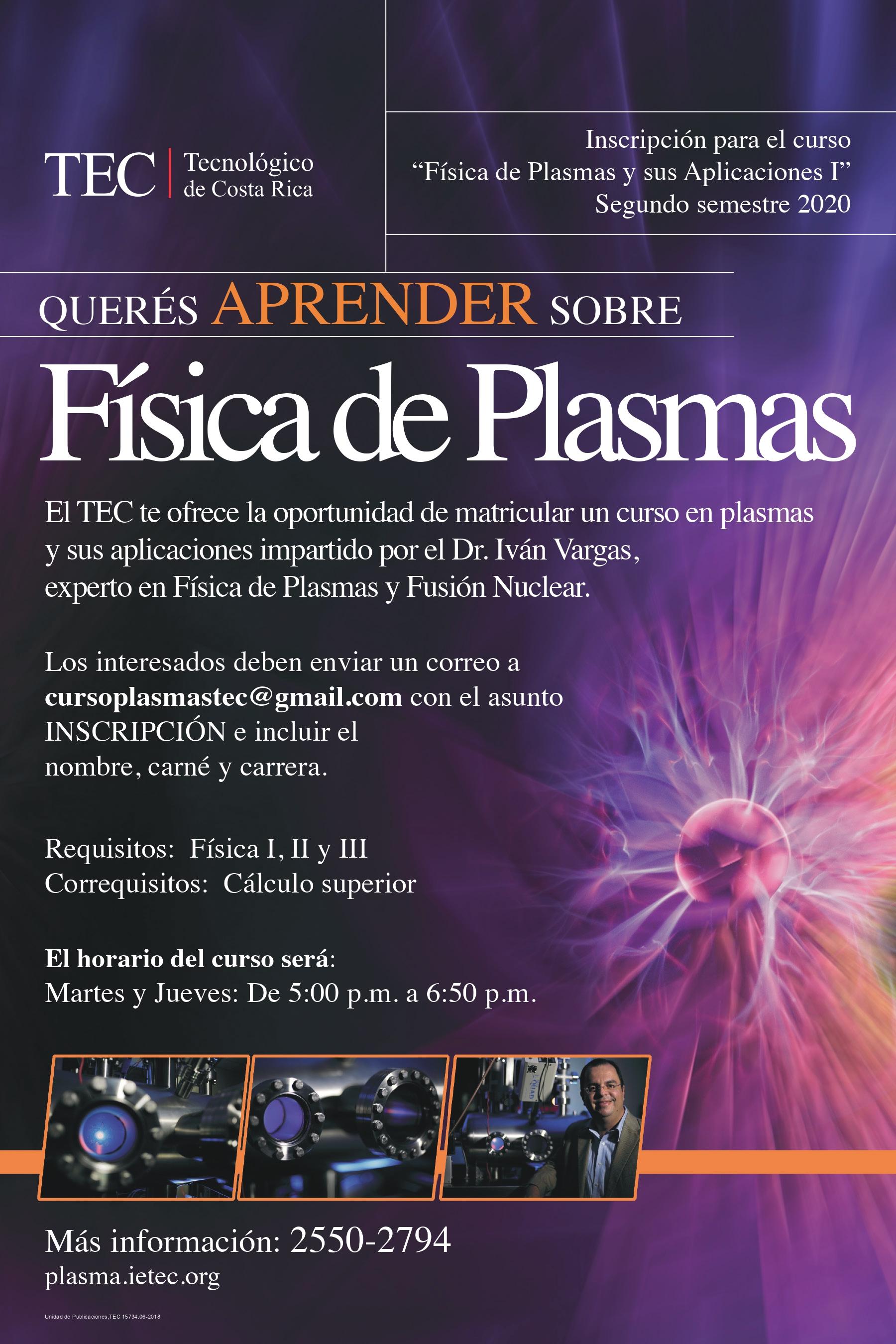 afiche informativo sobre el curso Física de Plasmas
