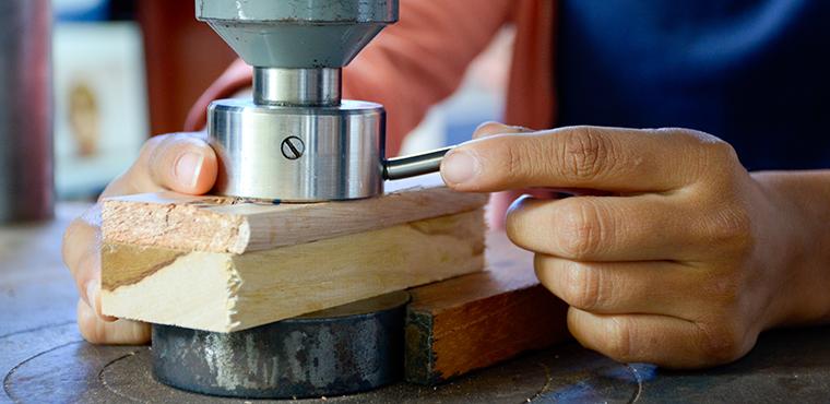 Análisis de madera en el laboratorio.