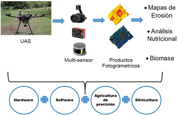Esquema de la utilidad del uso de drones en la agricultura.