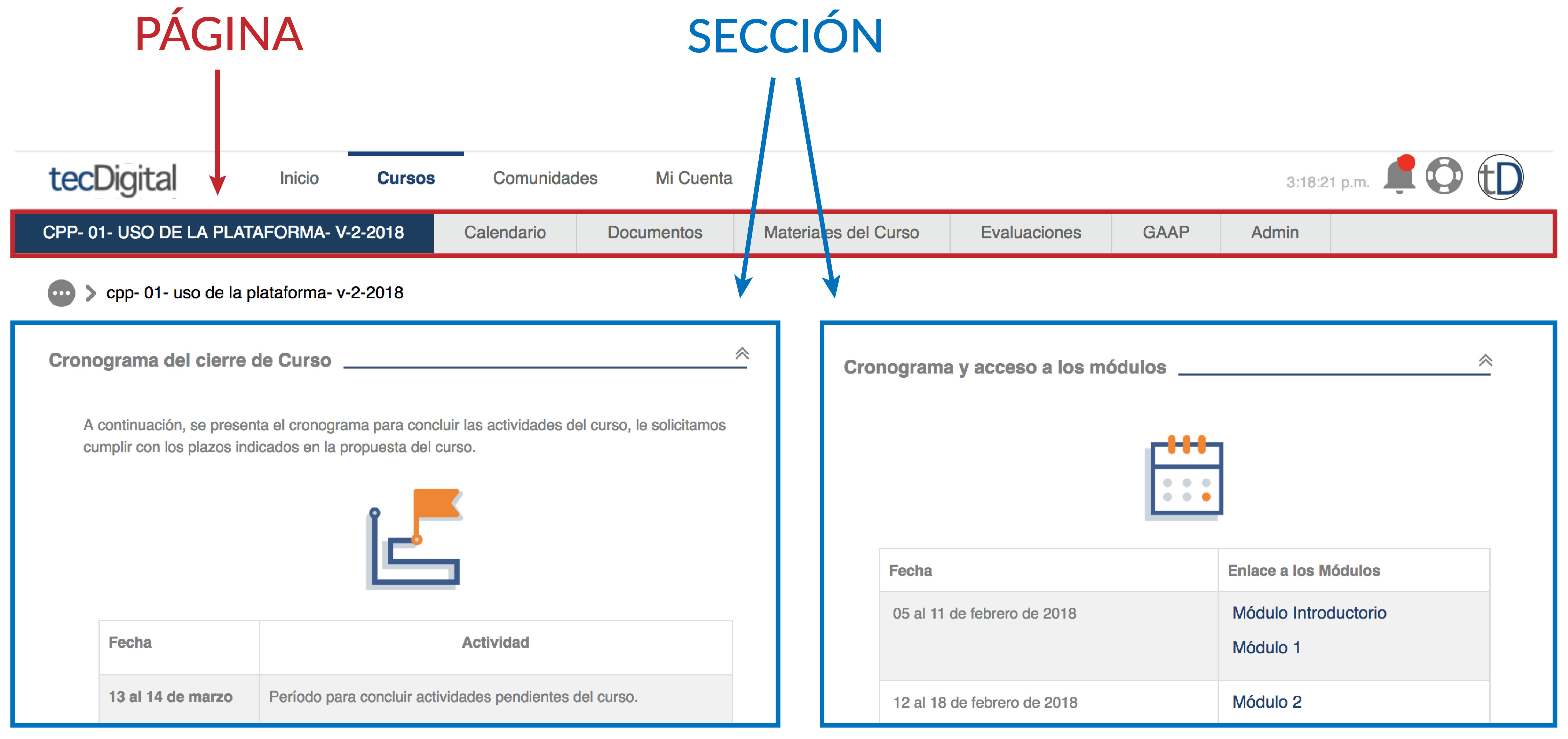 identificación de partes en la plataforma, página y sección