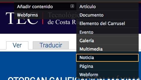 En la barra administrativa seleccione la opción contenido, añadir contenido y noticia.