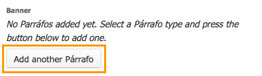 botón para agregar un nuevo párrafo de banner