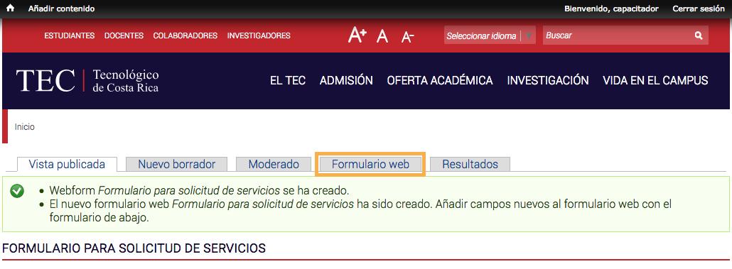 botón de edición de formulario web