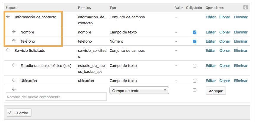 ejemplo conjunto de campos editable