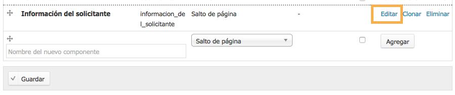 botón para editar salto de página