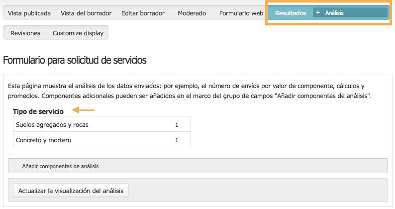 botón de ingreso a la opción análisis de resultados