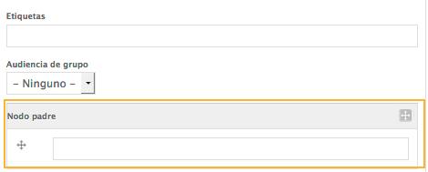 En la barra administrativa seleccione la opción nodo padre.  Ingrese el nombre de la unidad correspondiente de modo tal que esta coincida con la página del sistema.