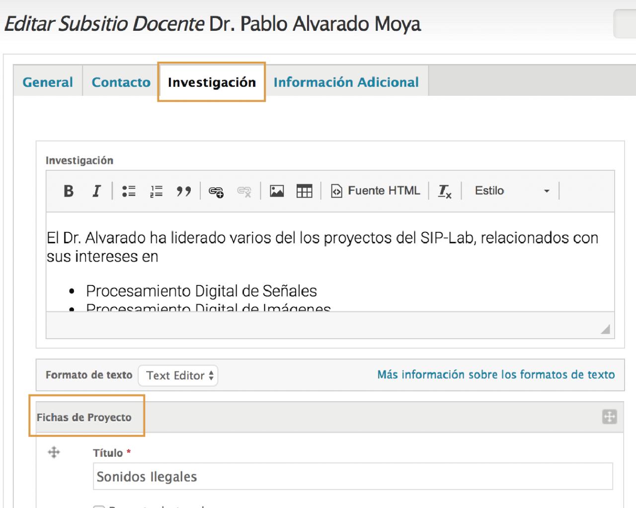 Las Fichas de Proyecto están abajo del campo de edición de Investigación.
