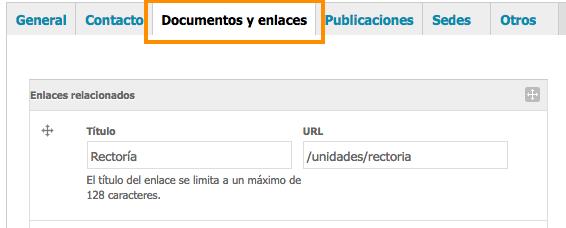 pestaña de documentos y enlaces en formulario de edición de la unidad