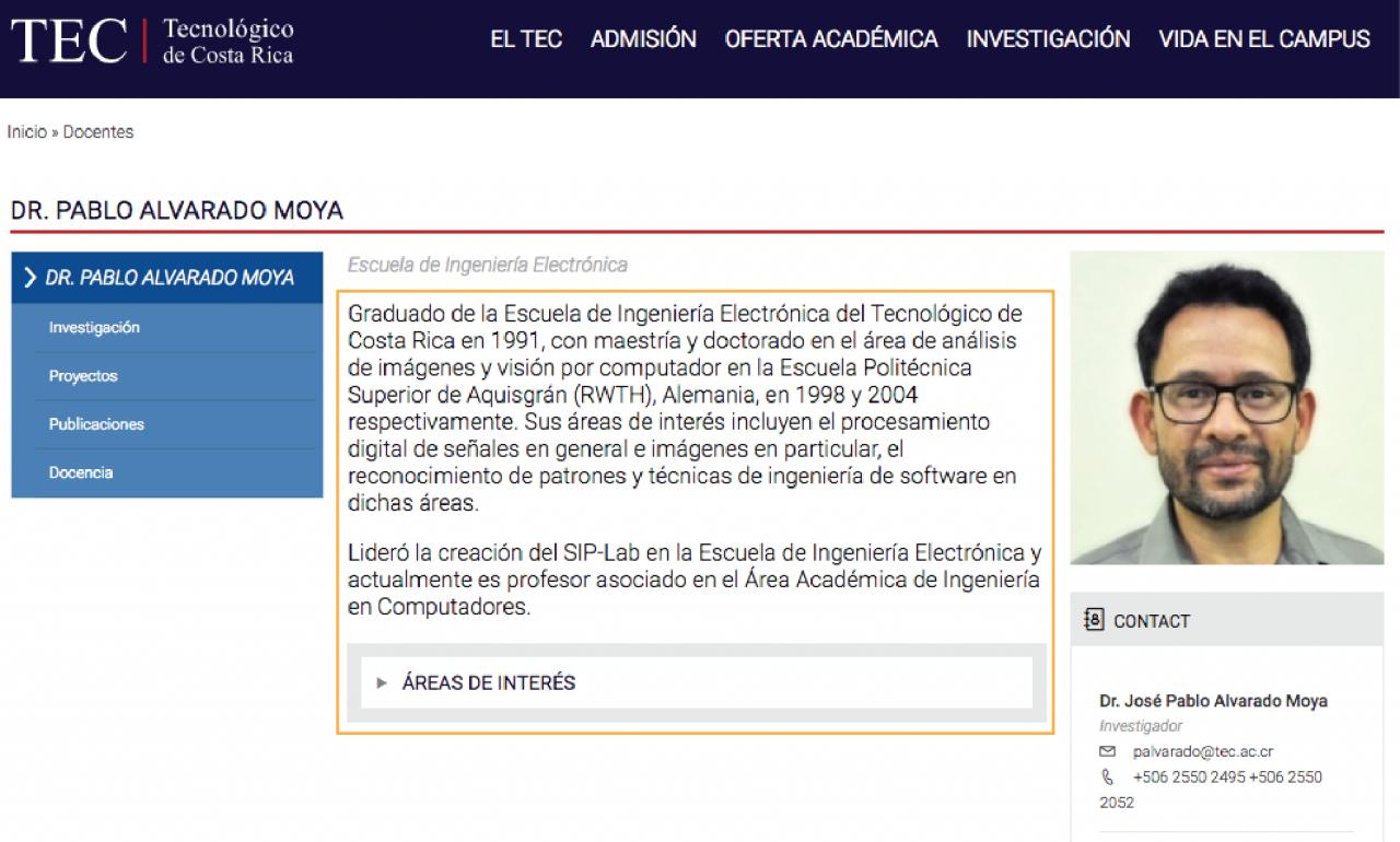 Ejemplo de Información General en el sitio del profesor Dr. Pablo Araya.