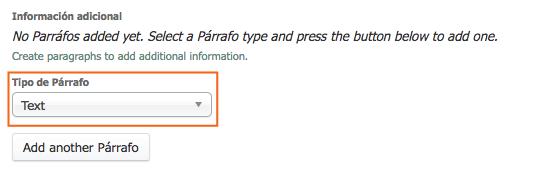 Presionar donde dice Texto para que se abra el desplegable con las opciones de párrafo.
