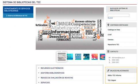 La muestra un ejemplo de una página con el elemento de enlace relacionado.