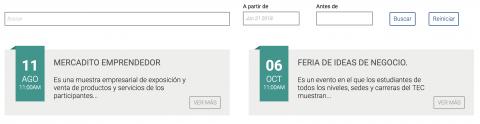 Imagen de agenda en una página, con la información del evento.
