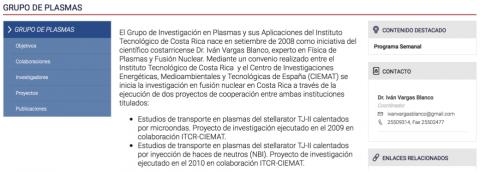 ejemplo de grupo de investigación, grupo plasmas