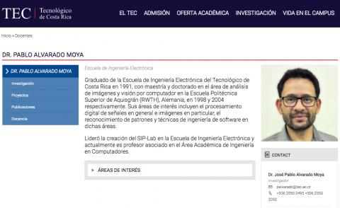 Ejemplo página del profesor Dr. Pablo Alvarado.