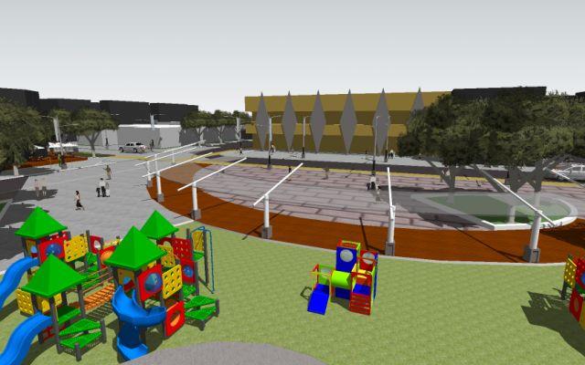 Dibujo de parque con un área de juegos