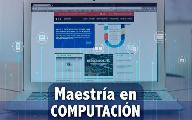 imagen de computadora con texto maestria en computacion