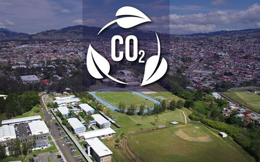 Aerial image of the campus with the text CO2 on top.