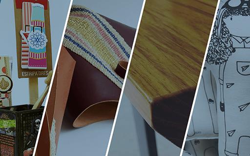 Imágenes de los productos de los emprendedores. Un mueble, un bolso, una muñeca.