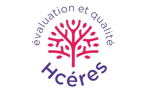 "The Hcéres logo simulates a tree with the words ""Quality evaluation"" in French."