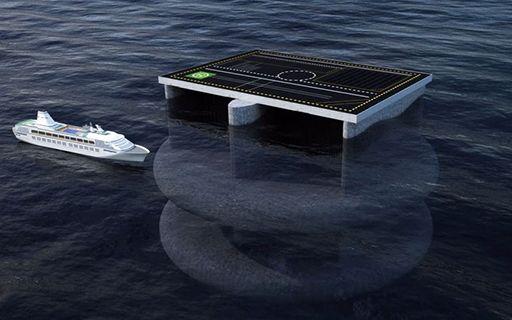 Ilustración de cómo sería la plataforma, misma que tendría un tamaño superior a tres cruceros de largo.