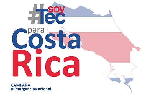 Diseño con el nombre de la campaña #SoyTEC para Costa Rica y el mapa de Costa Rica.