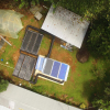 Vista aérea del secador solar activo híbrido-forzado, instalado para la Asociacion de Productores Agroambientalistas de Cacao (ASOPAC).