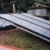 Colectores de aire que forman parte del sistema térmico solar híbrido forzado instalado en Katira, Guatuso para la Asociacion de Productores Agroambientalistas de Cacao (ASOPAC)